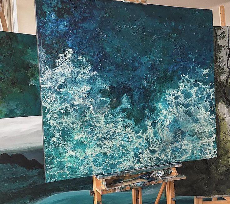 Energetic Large-Scale Paintings of Splashing Ocean Waves
