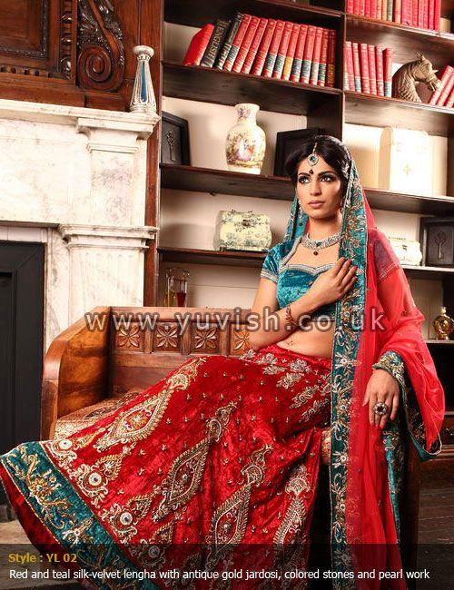 traditional-wear#traditionalbridallengha#redlengha#velvetlengha#tealandred#indianbride#pakistanibride#yuvishdesignerwear