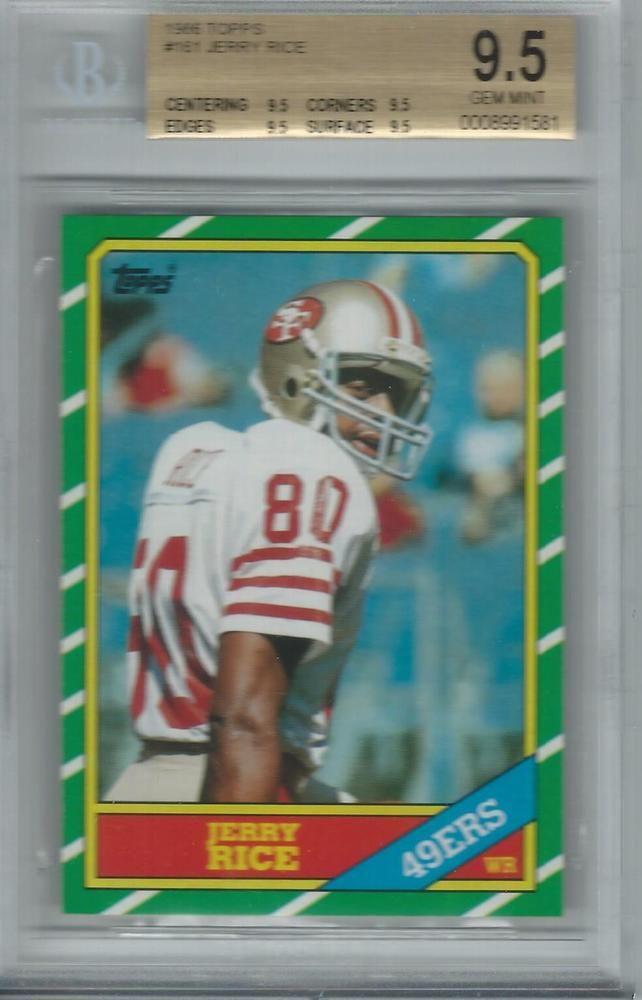 1986 Topps Football Jerry Rice Rookie Rc 161 Bgs 95 Gem Mint Quad