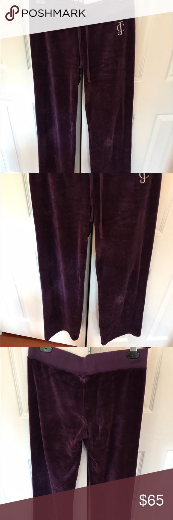 Juicy couture veloure track pants Velvet purple track pants with drawstring and bootcut leg. Rarely worn in great condition Juicy Couture Pants Boot Cut & Flare