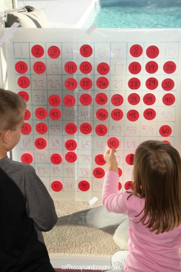 A hundreds chart is a classic math tool that can be used to teach tons of math concepts. To play with some number concepts and show my kids just how fun a hundreds chart can be I made them a big, sticky one out of contact paper!