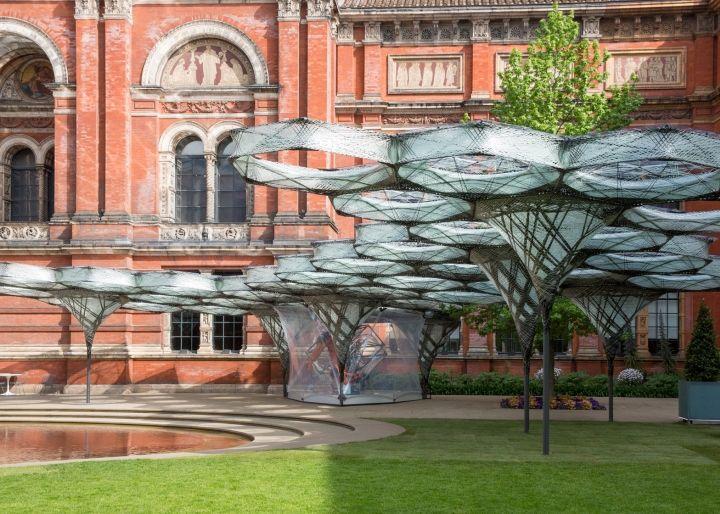 Robotically woven carbon-fibre pavilion by University of Stuttgart, London - UK