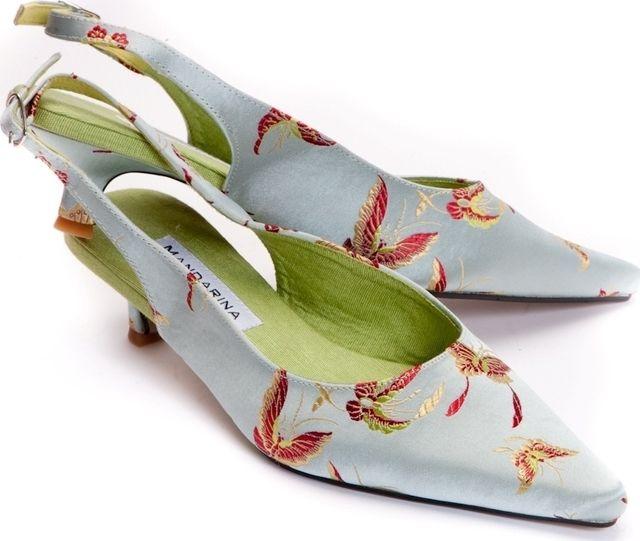 Aqua Butterfly Kitten Heel Wedding Shoe