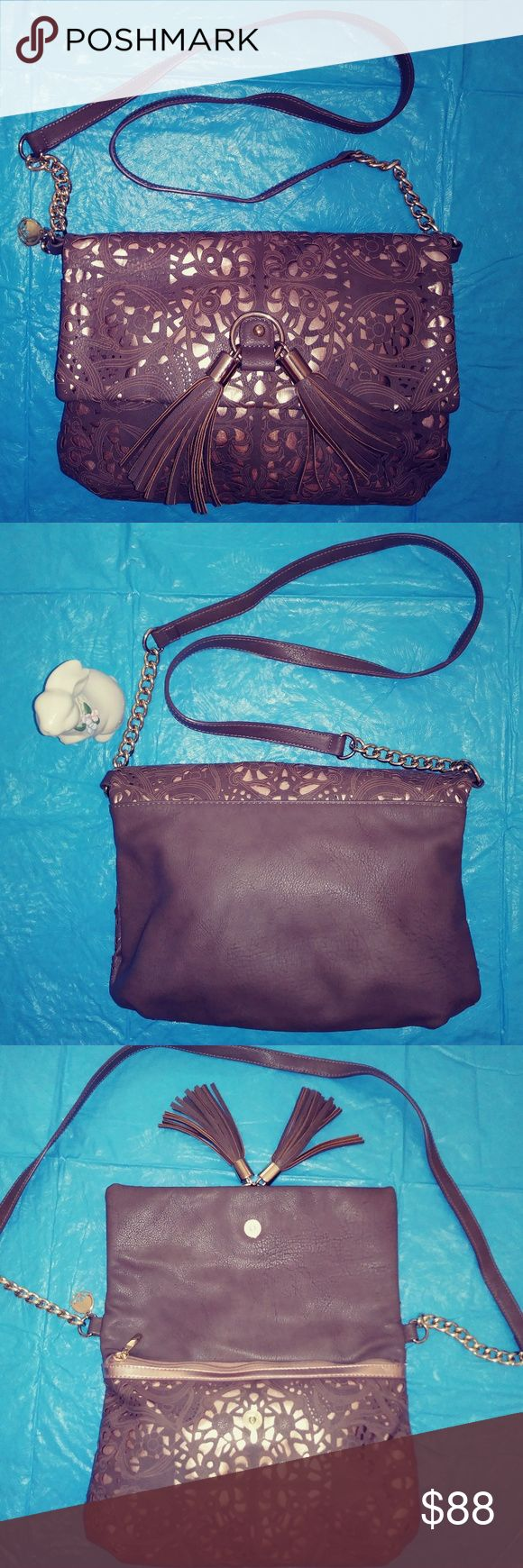 BIG BUDDHA BAG tan and gold shoulder bag BIG BUDDHA BAG tan and gold shoulder bag. Exquisite bag with cut-out details, gold underneath, flap with magnetized snap closure, two tassels, great gold tone charm, chain and hardware. Beautiful print lining, very roomy, one zipper and two open pockets. Big Buddha Bags Shoulder Bags