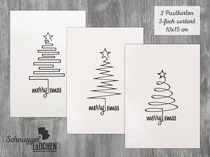 Postkarte, Weihnachten, Grußkarte 3erSet gemischt  von Schnuggellaedchen auf DaWanda.com