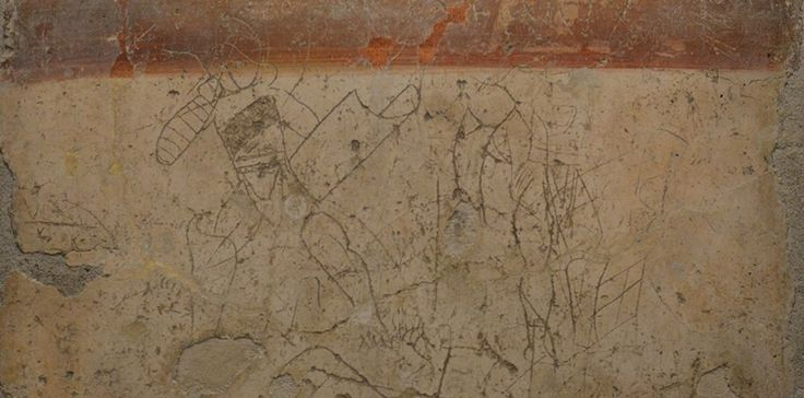 Graffito of a gladiator from Pompeii (Image via Carole Madge. See thousands of her photos on her Finding Hadrian blog.)
