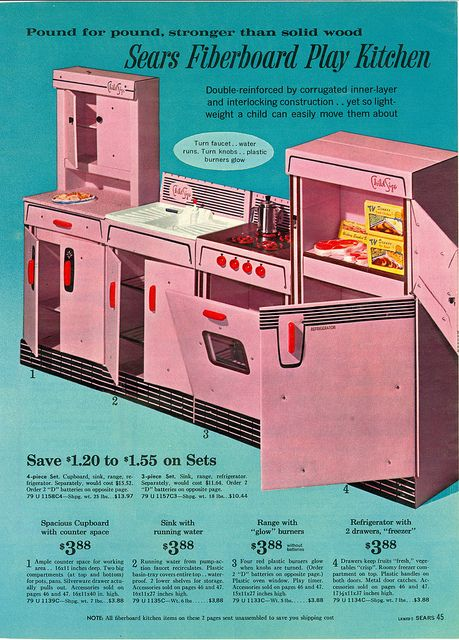 Our first kitchen!  It was actually made out of heavy duty cardboard.  The burners lit up when you turned the dial.  Loved it!  Sears Toy Book-1963