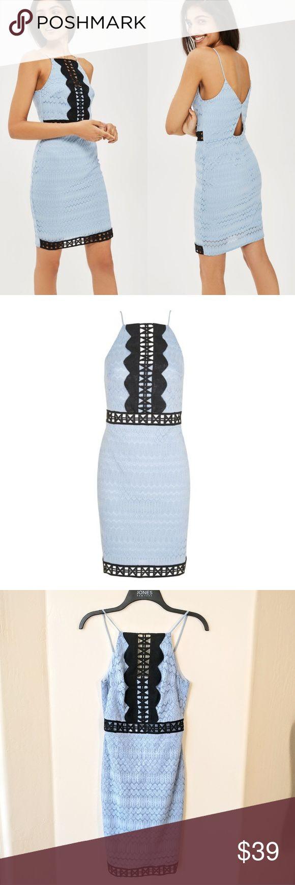 "NWOT Topshop TALL Crochet Lace Bodycon Dress TALL Crochet lace bodycon dress.   Condition: new without tag Size: 4 Bust flat 15.5"" Waist flat 13.5"" Length 37.5""  90% Nylon, 10% Elastane.  Machine wash Topshop Dresses Mini"