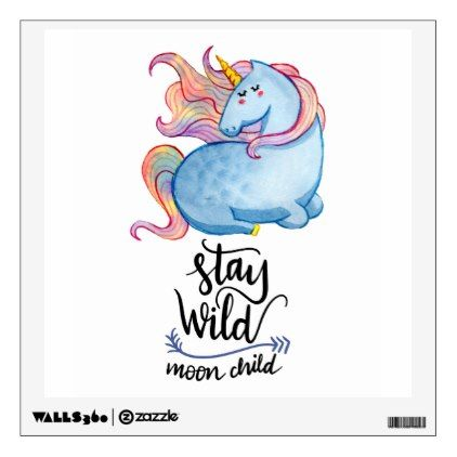 Stay Wild Blue Unicorn Wall Decal - watercolor gifts style unique ideas diy