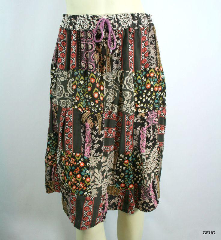 RAJA O/S Multi-Color Floral Print Patchwork Boho Indian Skirt Rope Waist Tie NEW #Raja #PeasantBoho