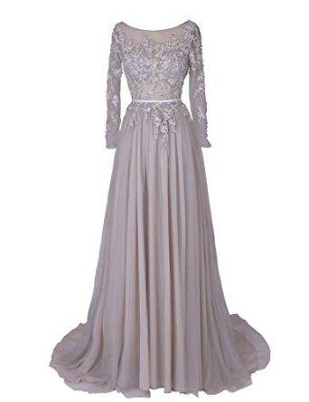 Dresstells Women's Long Formal Dress with Sleeves Blackless Wedding Dress
