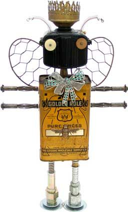 Bee Be King ~ Fobot by Amy Flynn  (Spice tin, Baby Brownie camera, whisks, oil lamp burner, expansion bolts, hydraulic fittings, brooch, spring, watch gear.)