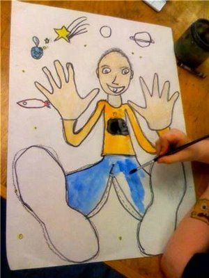 Have kids trace their hands and feet on an 18 x 24 piece of paper. Then have them draw in and color the rest of their bodies to look like they are falling in space. Use our Infinity Markers for this fun project.