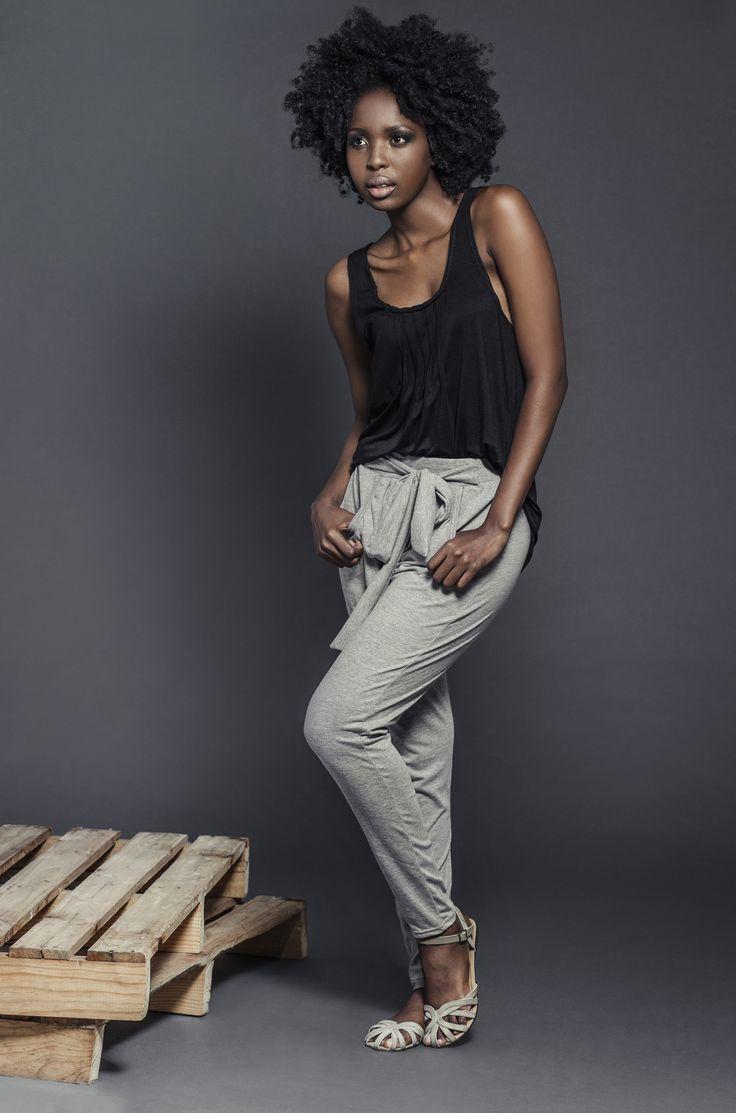 Ladies Black viscose pintuck vest with grey melange viscose knit harem pants. For more information visit: https://www.facebook.com/pengellyclothing or https://www.pengelly.co.za