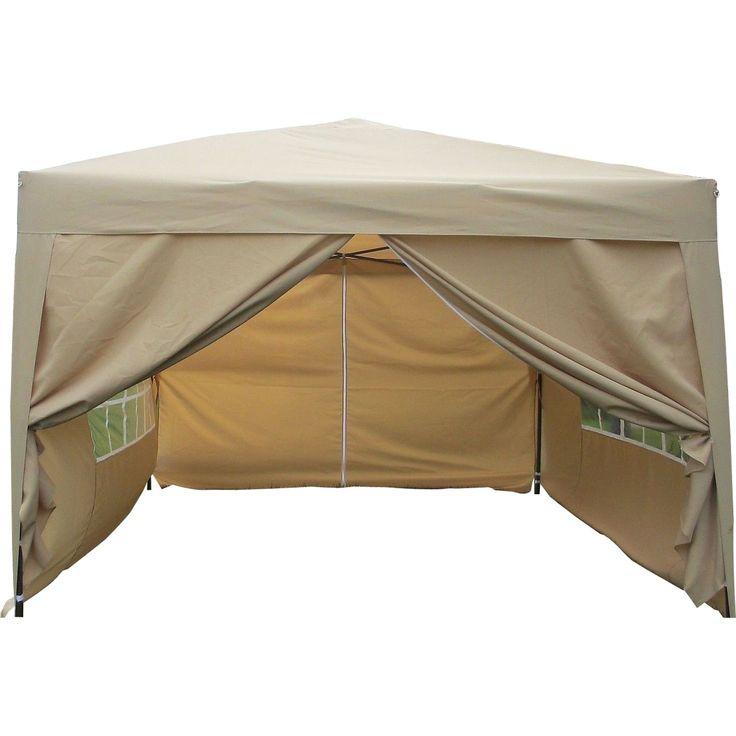 MCombo 10'x10' EZ-Pop-Up 4-Walled Canopy Party Tent Gazebo with Sides (BG 10'x10' EZ Pop Up Tent), Beige, Size 10 x 10 (Fabric) #6051-1010Y