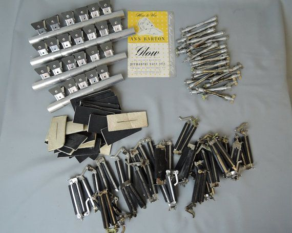 Vintage 99 Piece lot of 1940s 1950s Home Permanent Wave Rods, Clamps, Spacers, Rubber & Felt pads - Home Perm, Hairdressing by dandelionvintage