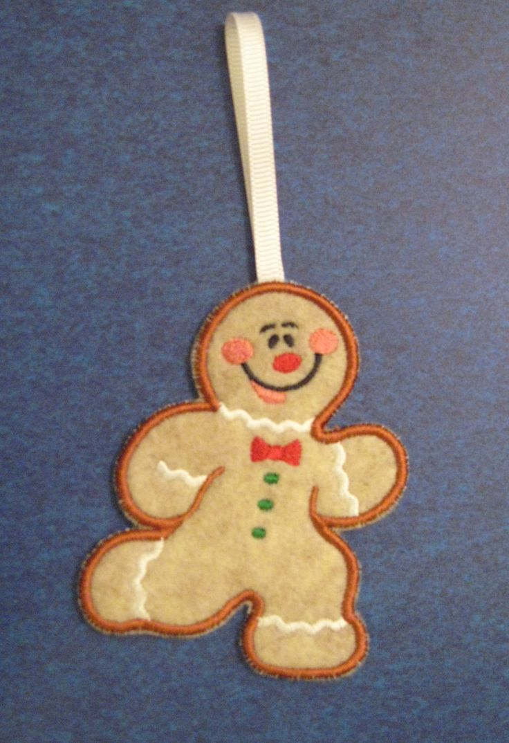 Jolly Gingerbread Man Christmas Ornament Handmade Embroidered Holiday  Decoration By Sewstrings2things On Etsy