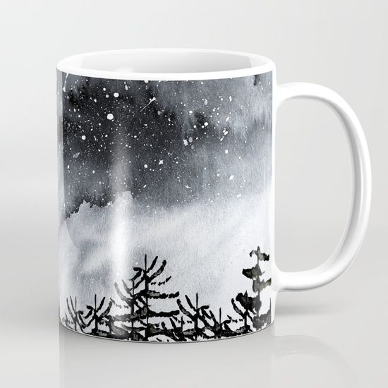 Lost Mug Watercolor sky and trees. Inspired by the cold night Northern skys. #watercolor #trees #art #artist #design #nature #wanderlust #forest #blackandwhite #nightsky #north #cold #coffeemug #muglove #homedecor
