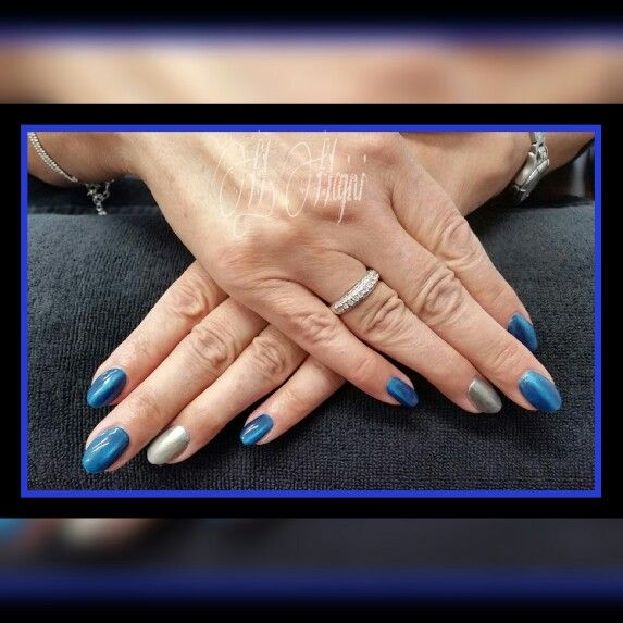 Blue tiger eye & silver nails