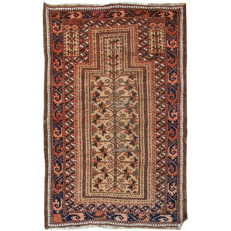 Handmade Antique Afghan Baluch Prayer Rug, 1900s For Sale