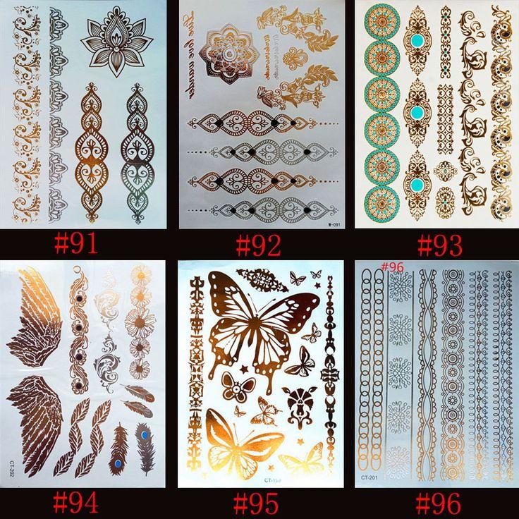 6 designs/set New Metallic Gold Silver Body Art Temporary Tattoo Sexy Non-Toxic Flash Tattoos Sticker For Women