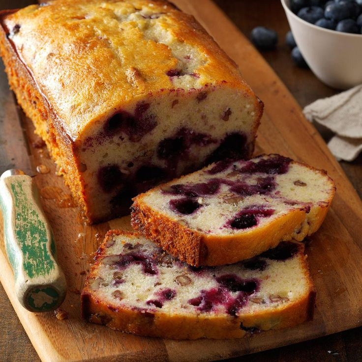 Lemon Blueberry Bread Recipe -Of all the quick breads we had growing up, this beautifully glazed berry-studded loaf is the best! The lemon glaze adds a lustrous finish and locks in moisture. —Julianne Johnson, Grove City, Minnesota
