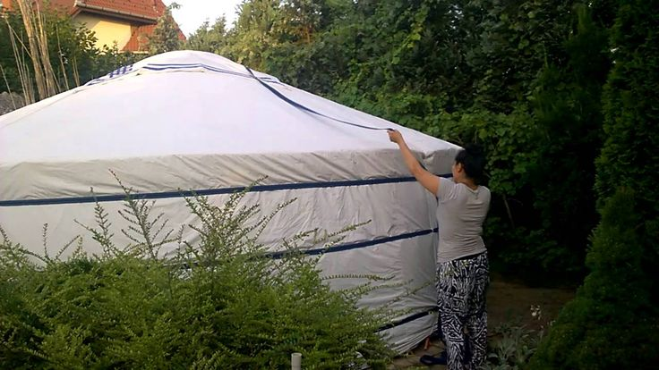 Rent a Yurt in Szeged: How to Build a Yurt -  Fastening the Top Cover...  See More