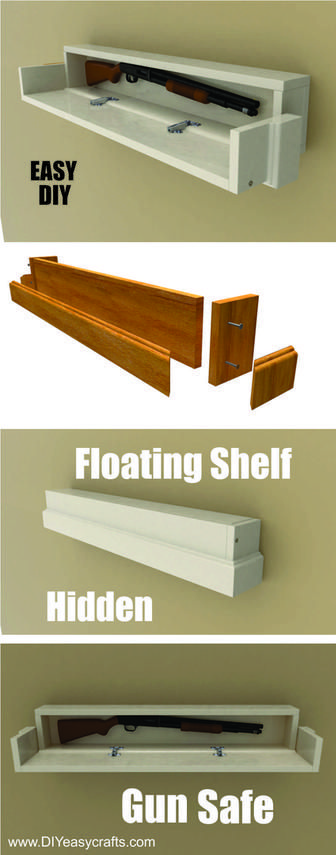 How to make a DIY Secret Compartment Floating Shelf Gun Safe. Free easy to follow step by step instructions. www.DIYeasycrafts.com