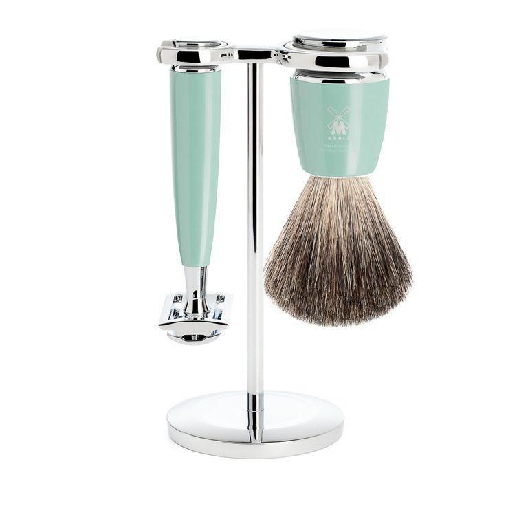Muhle Rytmo 3-Piece Shaving Set with Safety Razor and Pure Badger Brush, Mint
