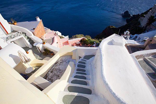 Steep Down Stairs in Santorini