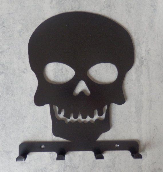 Skull Silhouette Key Hook Rack  metal wall art by MetalMagpieUK