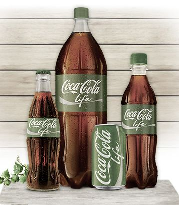 Coca Cola Life packaging. Green coke, 100% plantbottle and the drink contains 50% sugar, 50% stevia.