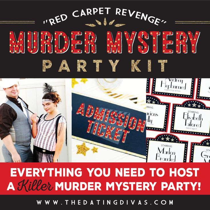 Get ready for a night of fun, secrets, & suspense! Our Murder Mystery Party is the perfect at home date idea for a group. Host your own fabulous party!
