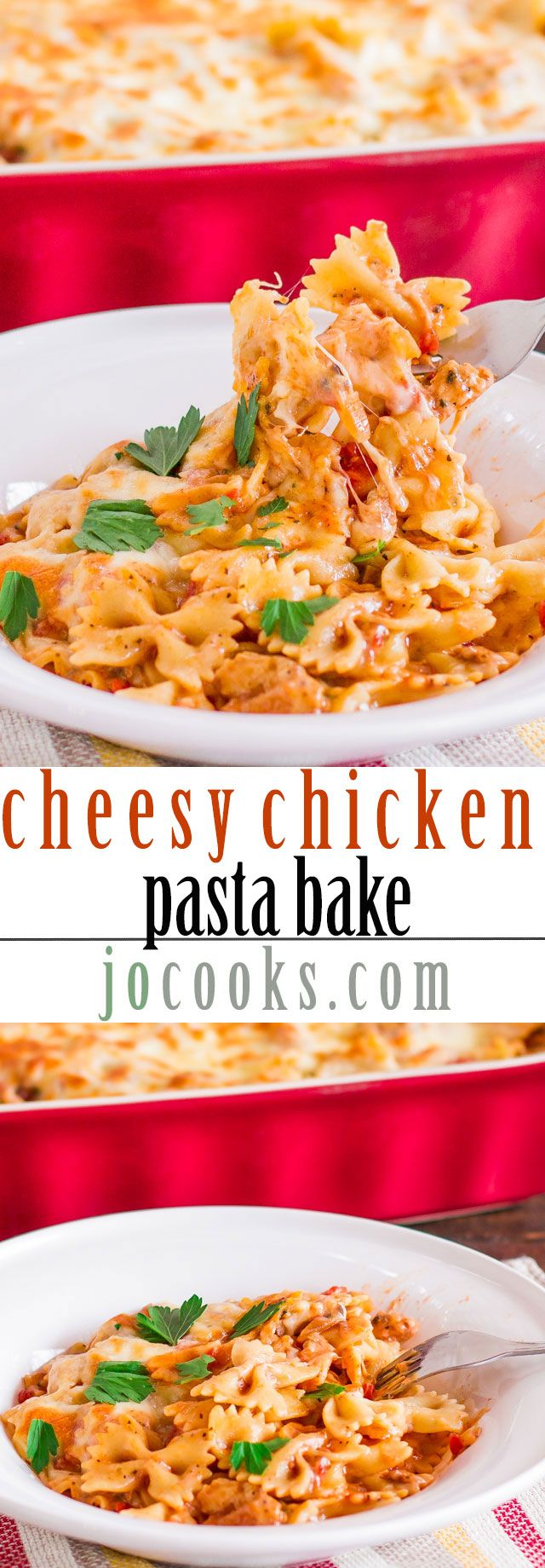 Cheesy Chicken Pasta Bake -- this is going to be such a hit with the kids! http://www.jocooks.com/main-courses/poultry-main-courses/cheesy-chicken-pasta-bake/