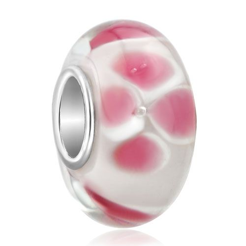 Pink Flower Peach Blossom Milk White Fit All Brands Murano Glass Beads Charms Bracelets Pugster.com