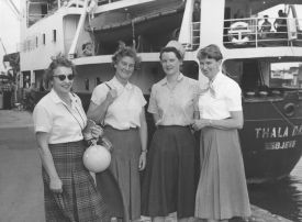 First women scientist departing for  Macquarie Island: Isobel Bennett, Susan Ingham, Mary Gillham & Hope Macpherson Before Boarding Thala...(Photo: Museum Victoria)