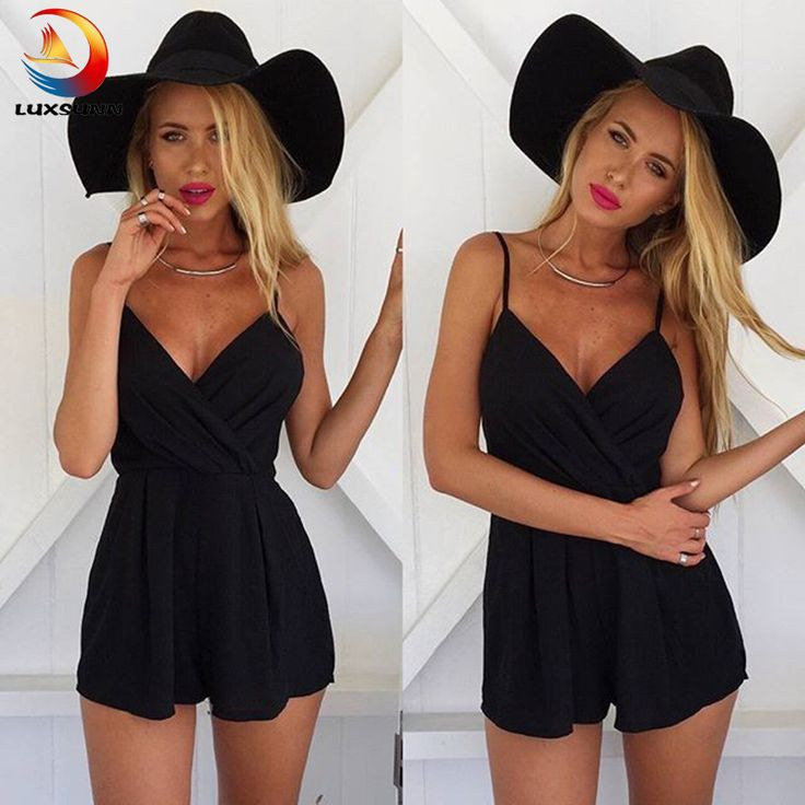 Fashion Sexy Black Suspenders Piece Shorts Women's Summer Jumpsuit Beach Playsuit Rompers 2017 One Piece Chiffon Rompers Femme