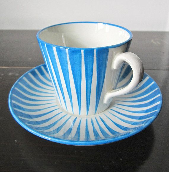 I want to make these.  Porcelain pens + cup and saucer?  GEFLE UPSALA EKEBY Sweden Zebra Cup and by TheBluePlumVintage, $310.00