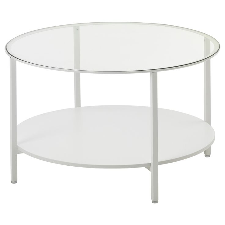 IKEA - VITTSJÖ, Coffee table, white/glass, , Stands evenly on uneven floors with the adjustable feet.