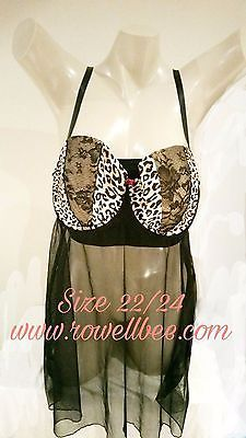 Cacique Lane Bryant Plus Lingerie Sexy Leopard Sheer Chemise Nightgown 22/24