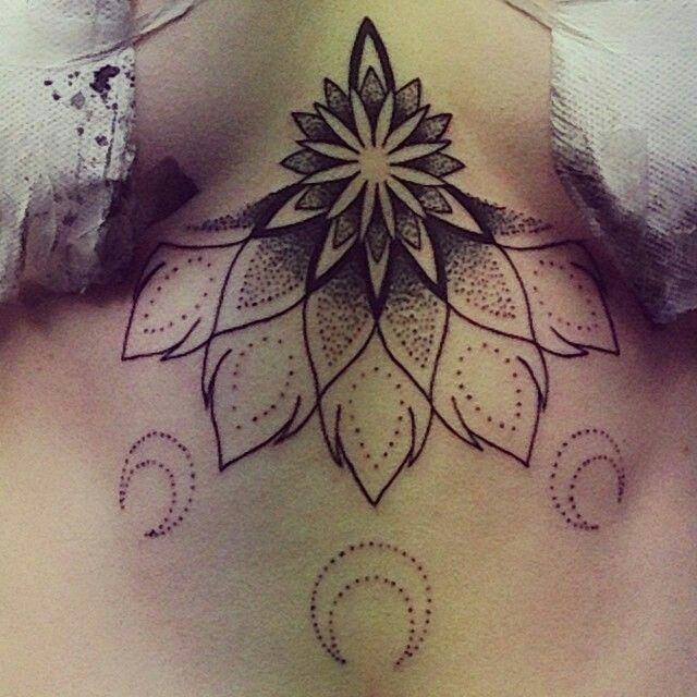 HalfMandala & Moons - lower chest tattoo