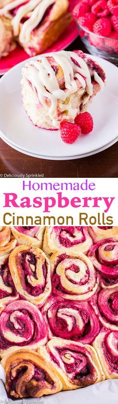 The BEST Homemade Raspberry Cinnamon Rolls with Cream Cheese Frosting