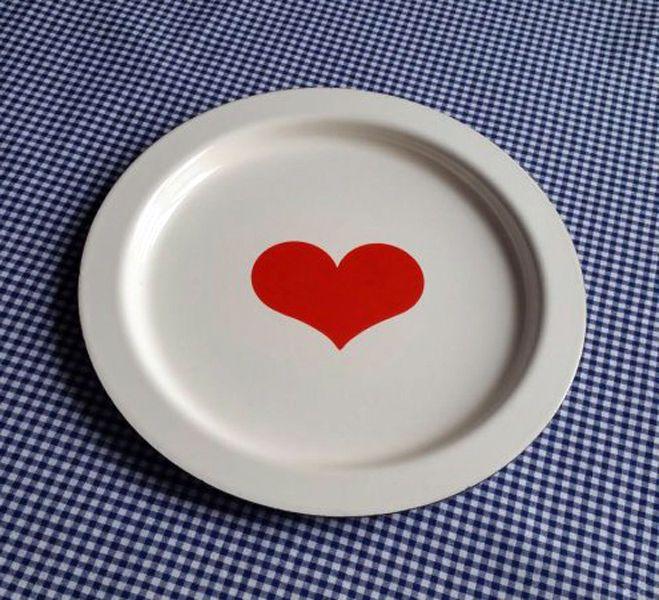 Finel Finland Enamel Heart Serving Tray by Kaj Franck - RARE #Finel