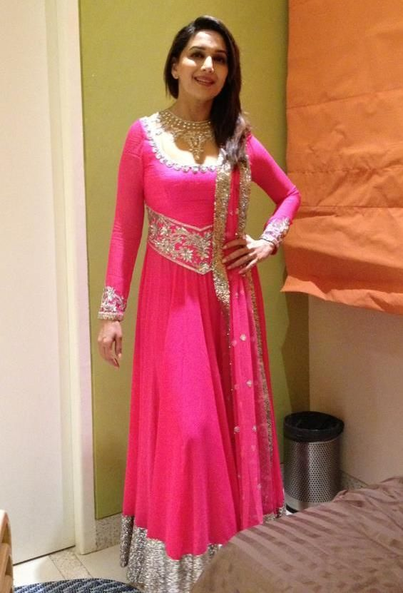Madhuri Dixit in Deep Pink Colour Anarkali Frock with Heavy Silver Colour Work at Border - Full Sleeve Floor Length Anarkali DressCharming Bollywood actress Madhuri Dixit Nene in pink Anarkali dres...