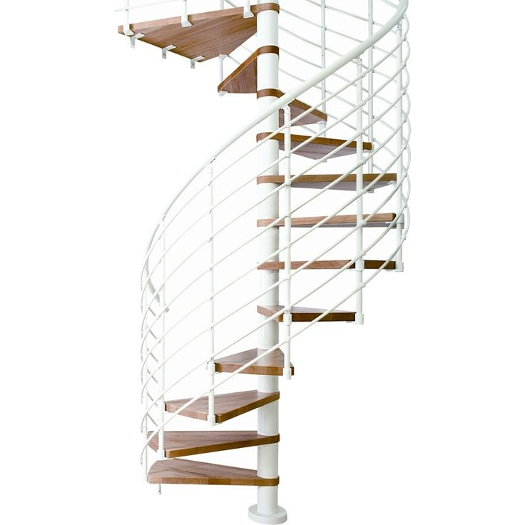 Best Dolle Oslo 47 In X 12 5 Ft White With Wood Treads Spiral 400 x 300