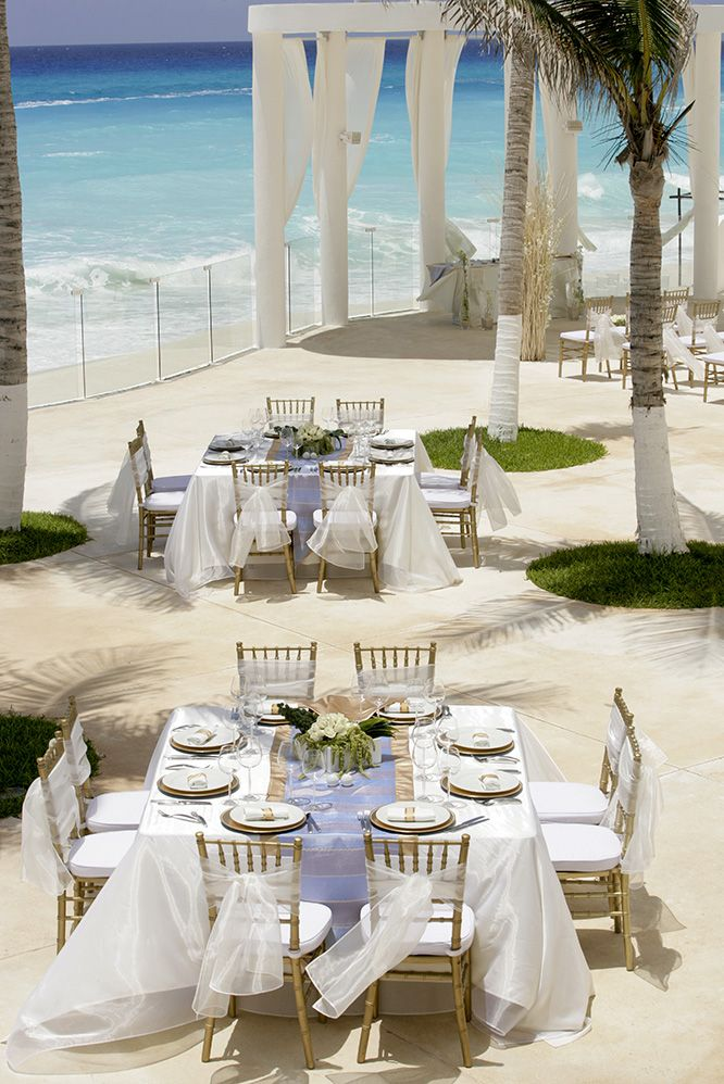 Seaside wedding at Le Blanc Spa Resort in Cancun, Mexico. #1 resort on TripAdvisor. Beach wedding, destination wedding, wedding ideas, wedding tips.