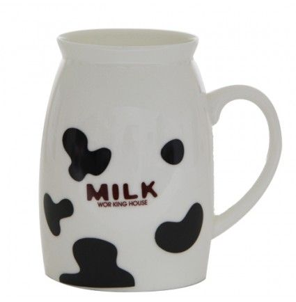 An unique gift for your home, a mug of 2.3x4 inches with cow prints and milk written on it.