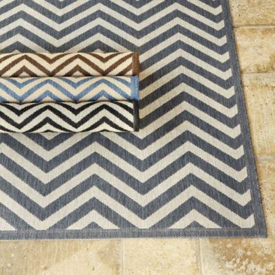 "Chevron Stripe Indoor/Outdoor Rug | European-Inspired Home Furnishings | Ballard Designs 7'10"" x 10'10"" $229  FAVORITE CHOICE FOR MUDROOM, in GRAY"