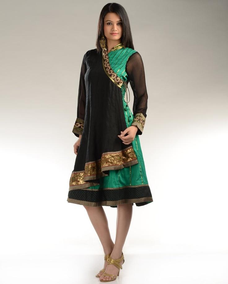 Green and Black Kalidar Dress