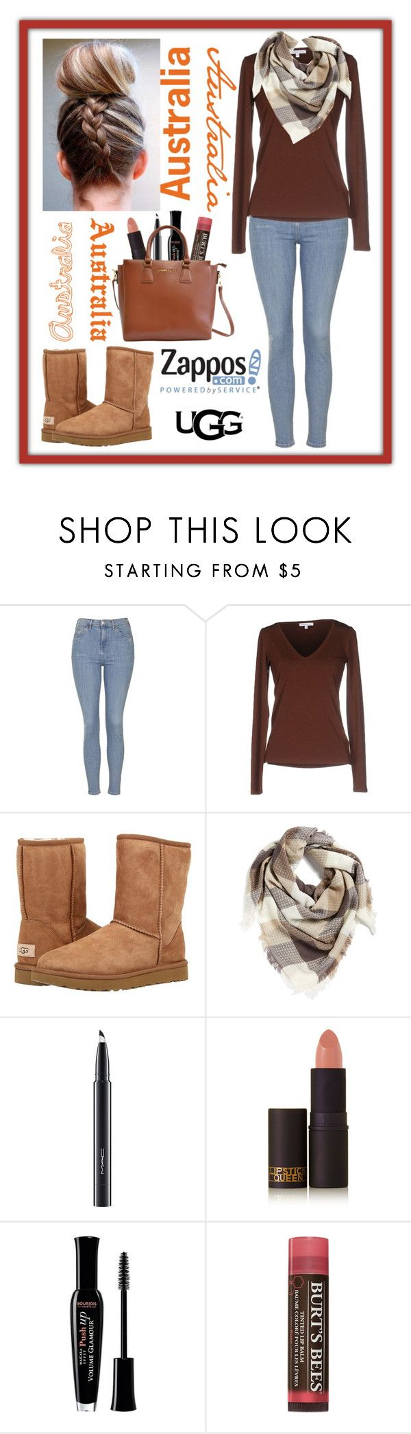 """""""The Icon Perfected: UGG Classic II Contest Entry"""" by haybeebaby ❤ liked on Polyvore featuring Topshop, Patrizia Pepe, UGG Australia, BP., MAC Cosmetics, Lipstick Queen, Bourjois, Burt's Bees, Adrienne Vittadini and ugg"""